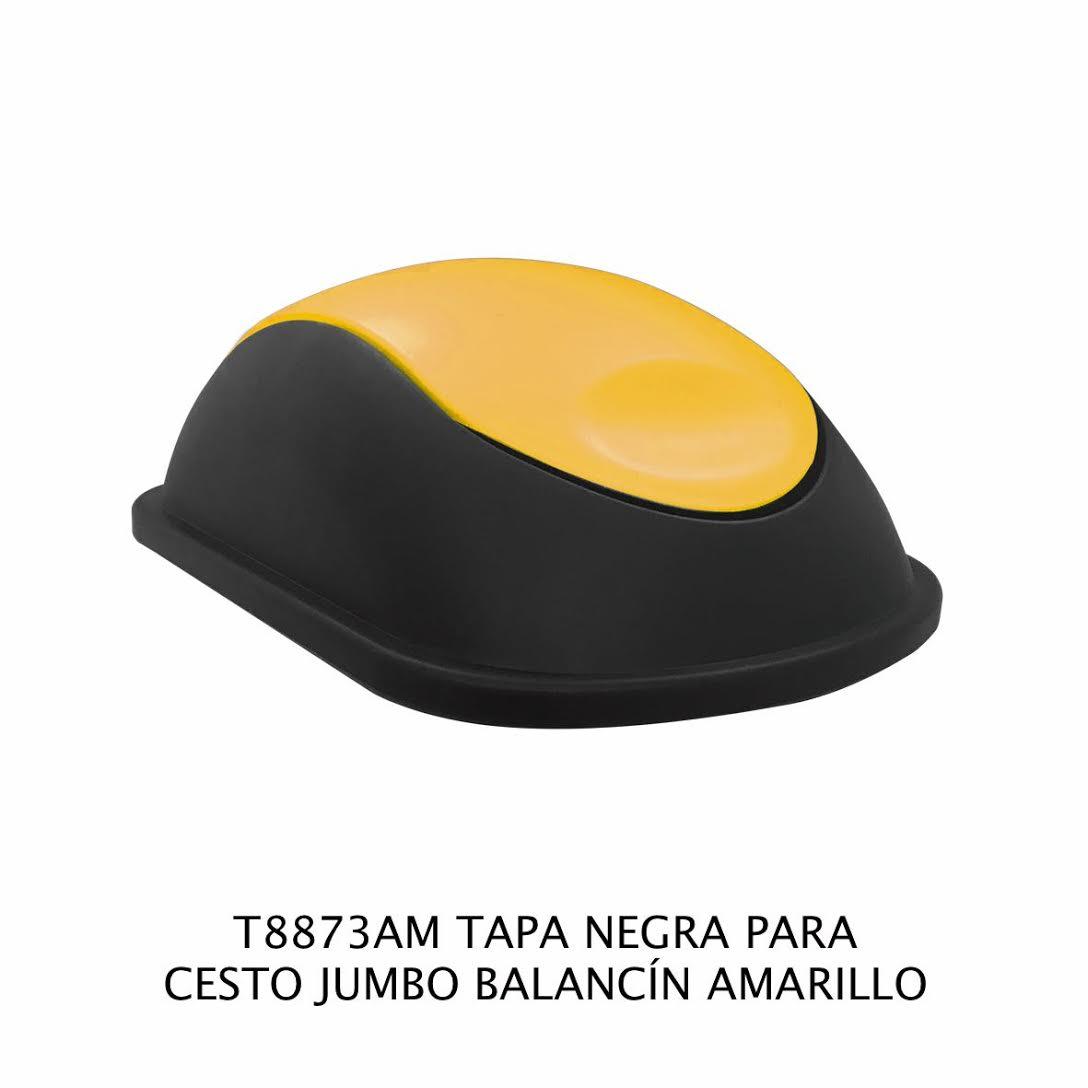 Tapa Negra con balancín color amarillo para bote de basura jumbo - Modelo T8873AM - Sablón