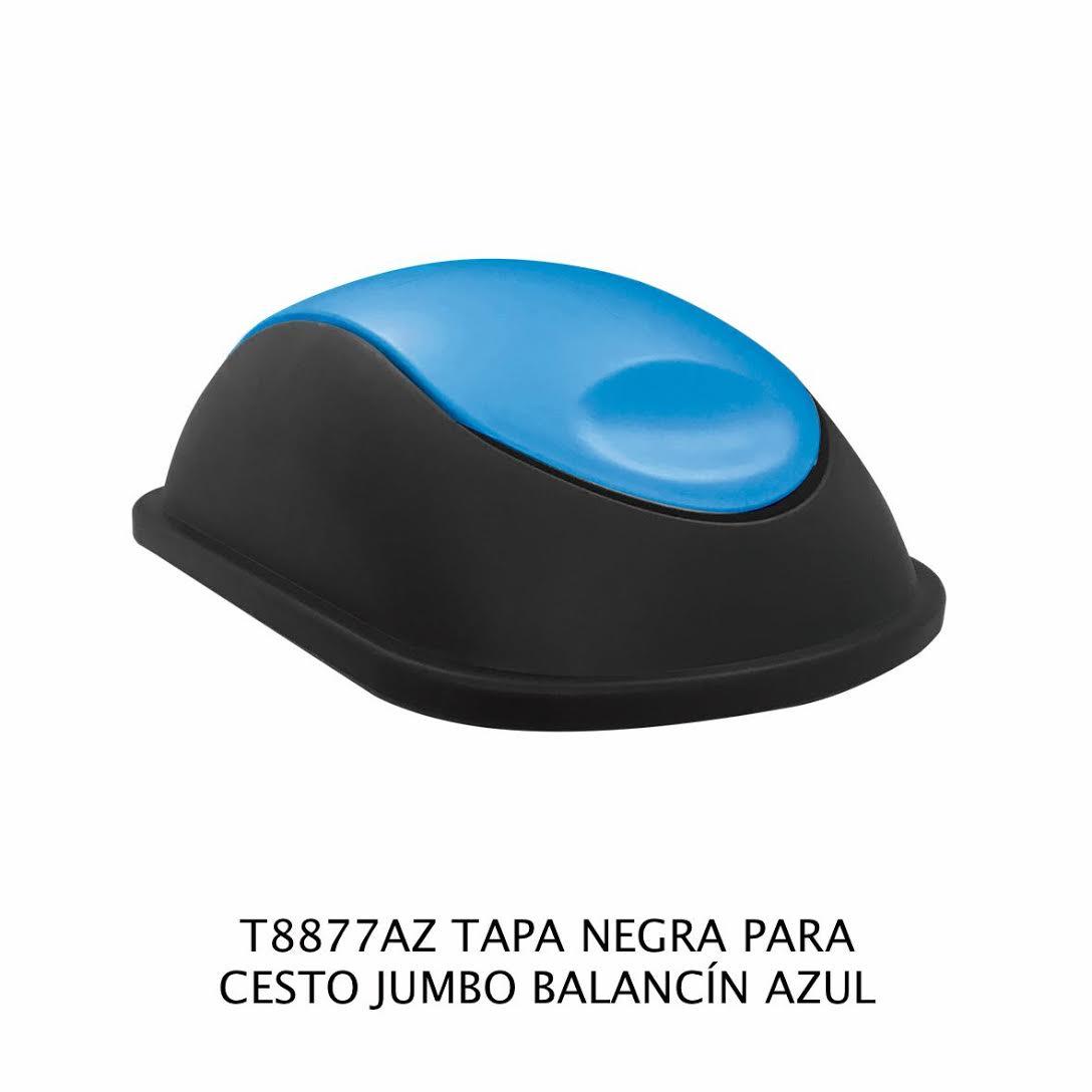 Tapa Negra con balancín color azul para bote de basura jumbo - Modelo T8877AZ - Sablón