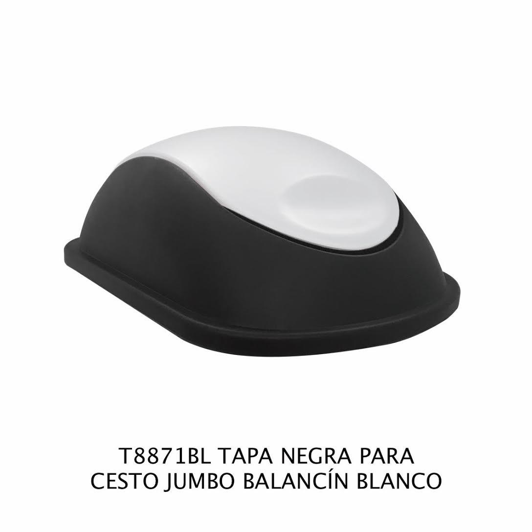 Tapa Negra con balancín color blanco para bote de basura jumbo - Modelo T8871BL - Sablón