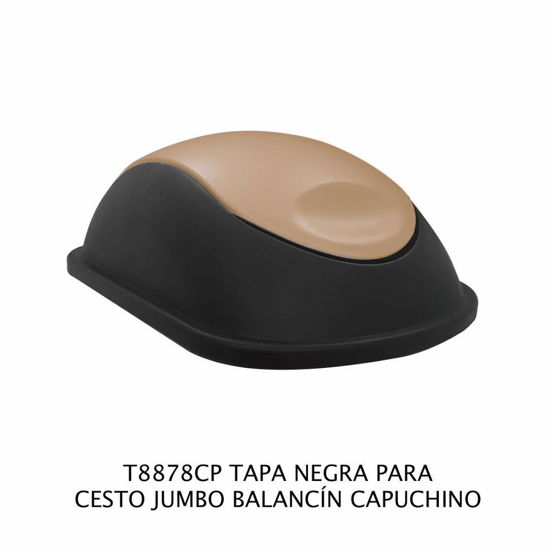 Tapa Negra con balancín color capuchino para bote de basura jumbo - Modelo T8878CP - Sablón