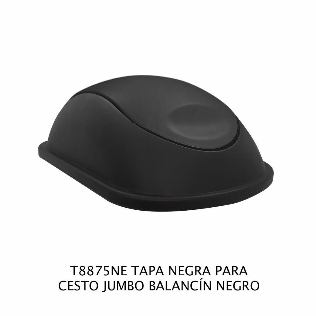 Tapa Negra con balancín color negro para bote de basura jumbo - Modelo T8875NE - Sablón