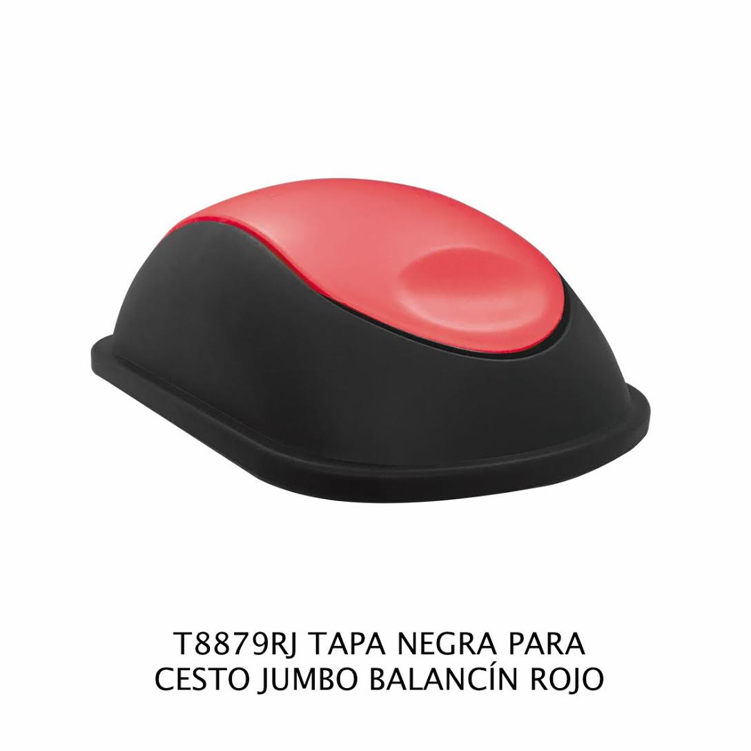 Tapa Negra con balancín color rojo para bote de basura jumbo - Modelo T8879RJ - Sablon