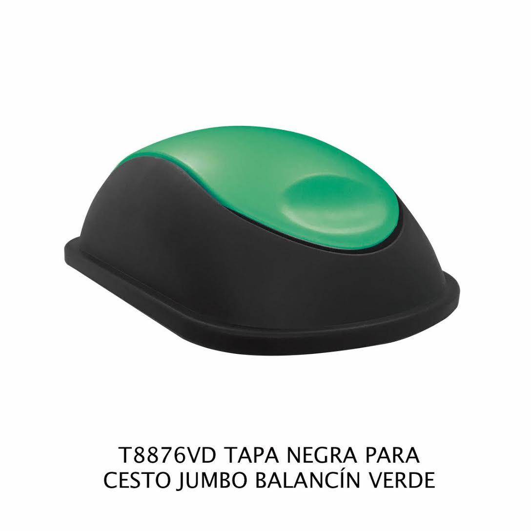 Tapa Negra con balancín color verde para bote de basura jumbo - Modelo T8876VD - Sablón