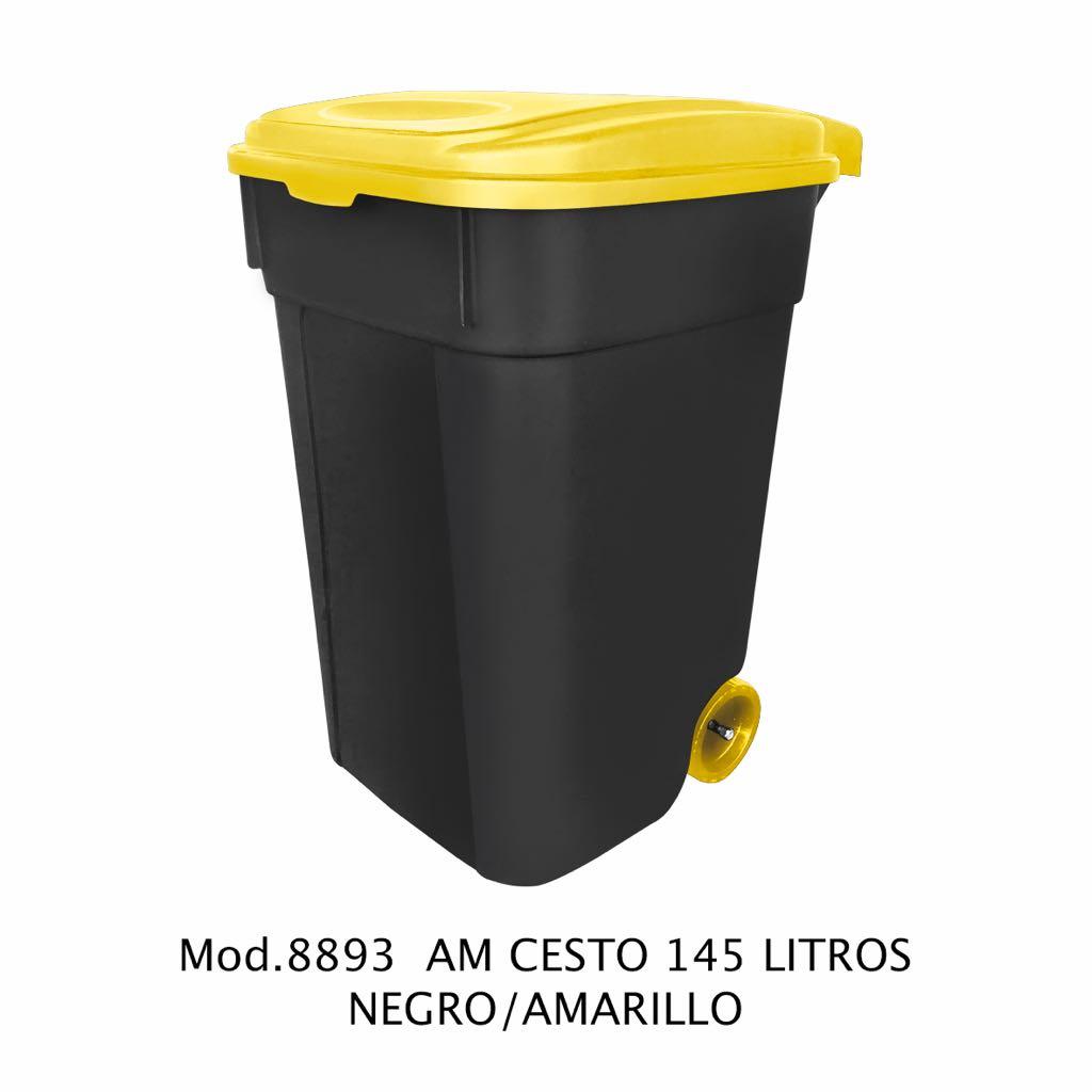 Contenedor de 145 litros negro y amarillo - modelo 8893 AM - Sablón