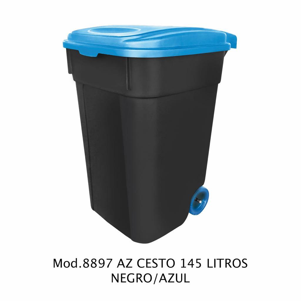 Contendor de 145 litros negro y azul - modelo 8897 AZ - Sablón