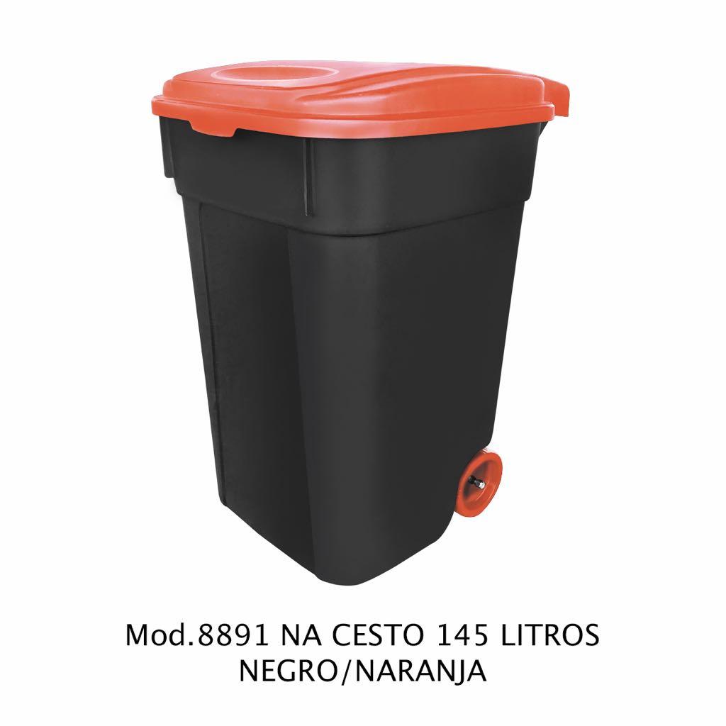 Contenedor de 145 litros negro y naranja - modelo 8891 NA - Sablón