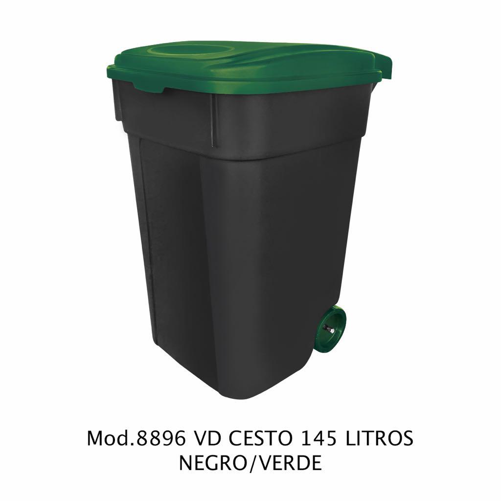 Contenedor de 145 litros negro y verde - modelo 8896 VD - Sablón