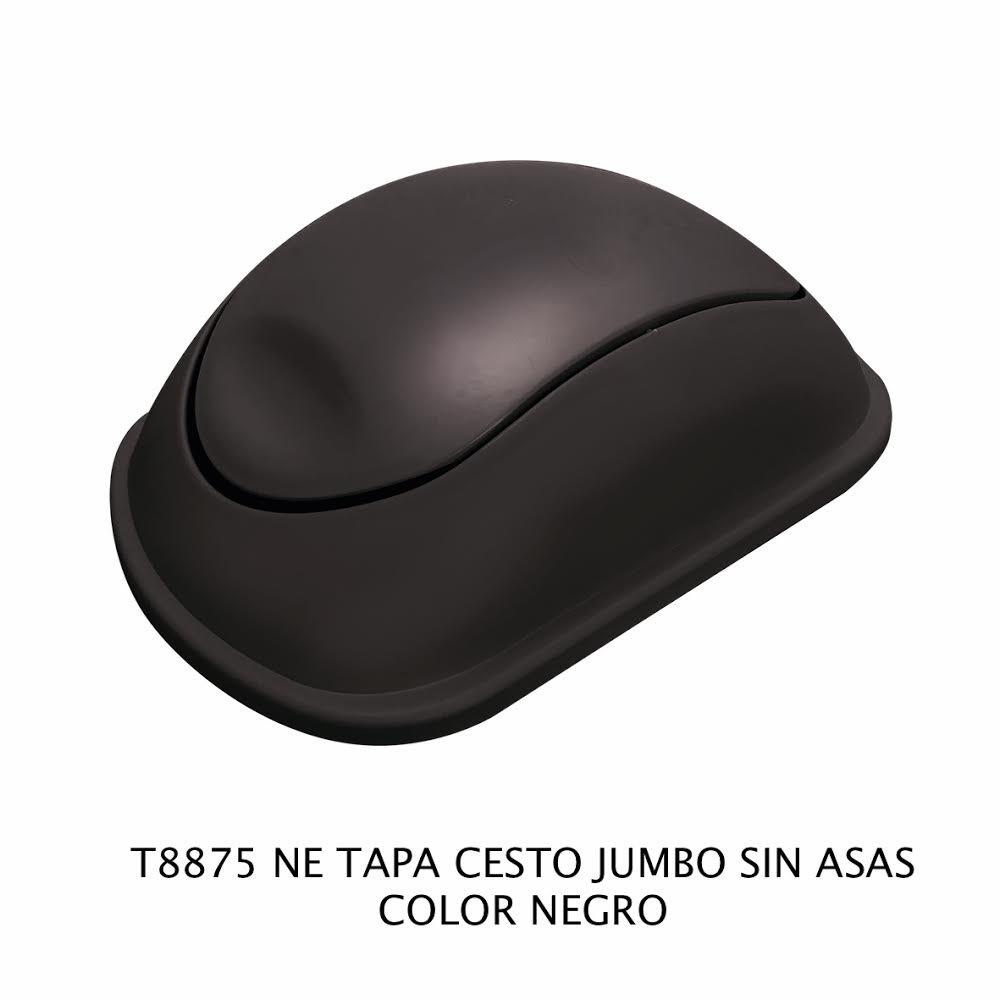 Tapa bote de basura jumbo sin asas color negro modelo T 8875 NE de Sablón