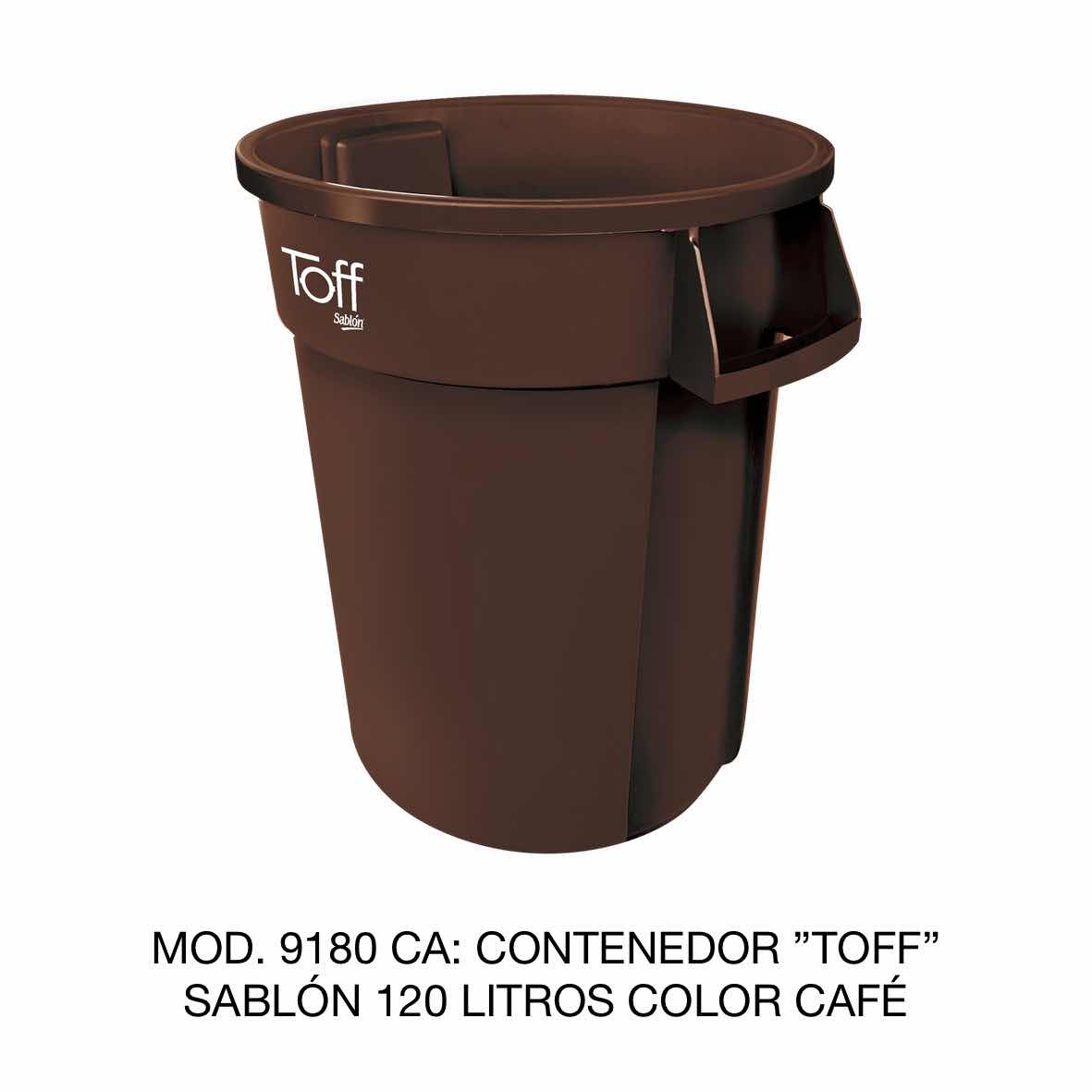 Contenedor de basura Sablón modelo TOFF de 120 litros Modelo 9180 CA Color Café