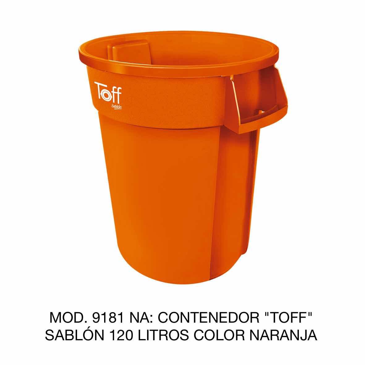 Contenedor de basura Sablón modelo TOFF de 120 litros Modelo 9181 NA Color Naranja