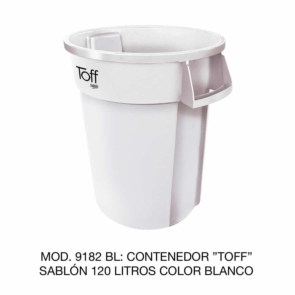 Contenedor de basura Sablón modelo TOFF de 120 litros Modelo 9182 BL Color Blanco