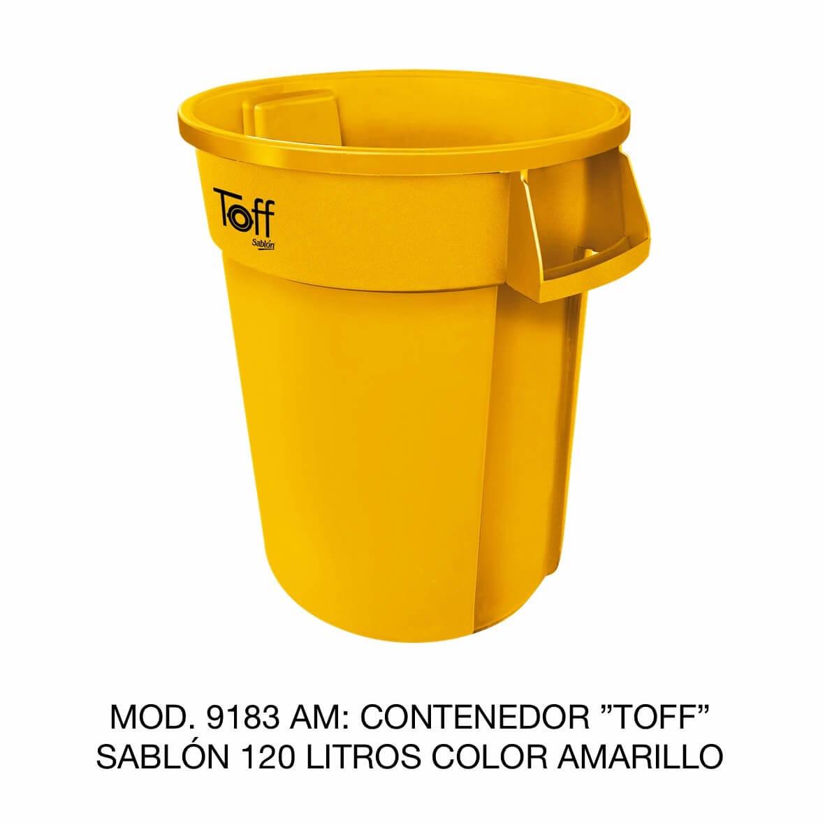 Contenedor de basura Sablón modelo TOFF de 120 litros Modelo 9183 AM Color Amarillo