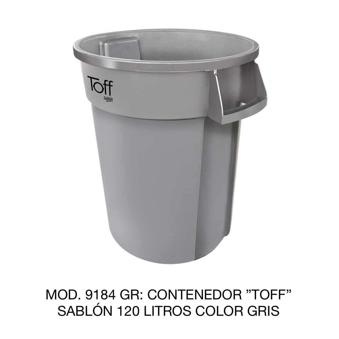 Contenedor de basura Sablón modelo TOFF de 120 litros Modelo 9184 GR Color Gris