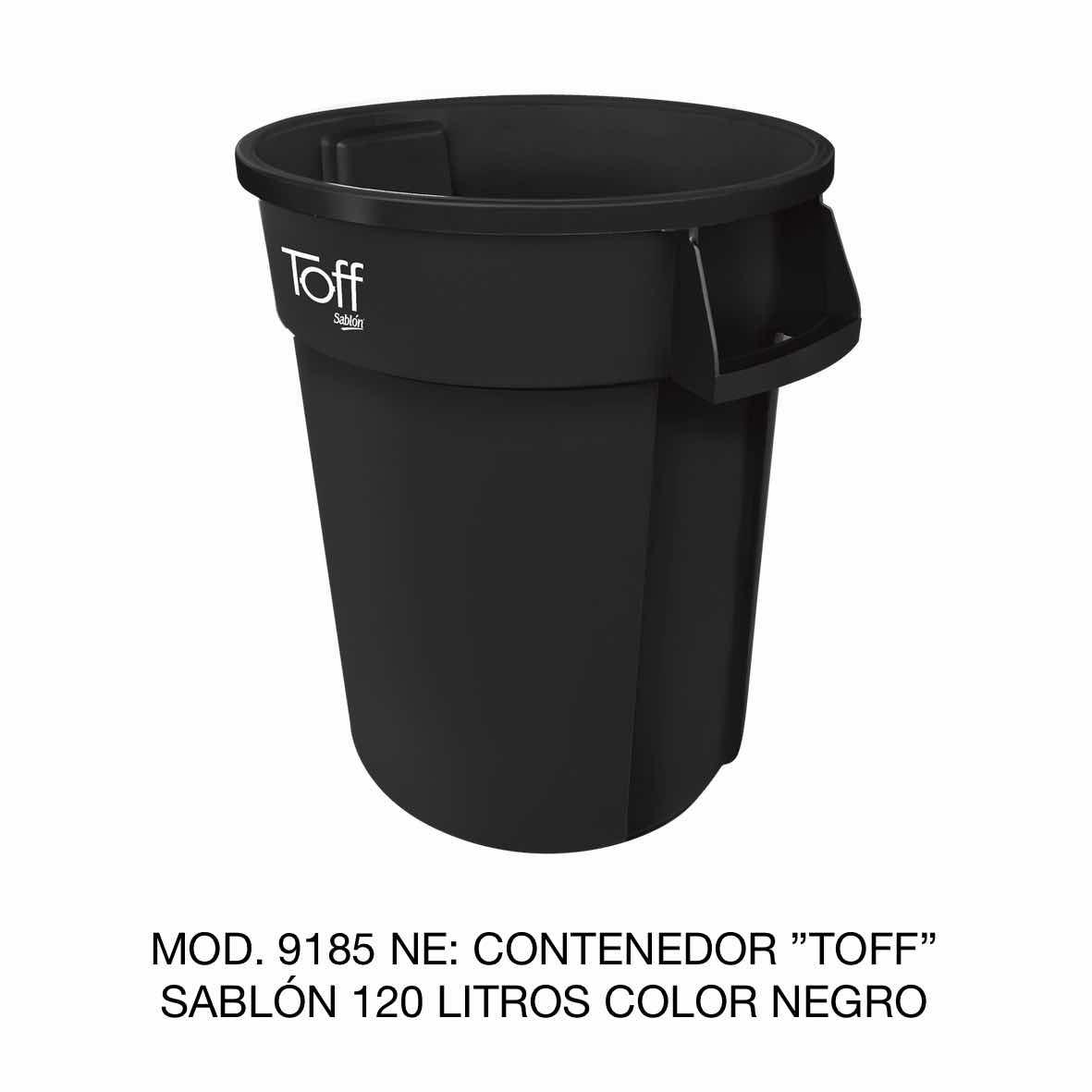 Contenedor de basura Sablón modelo TOFF de 120 litros Modelo 9185 NE Color Negro