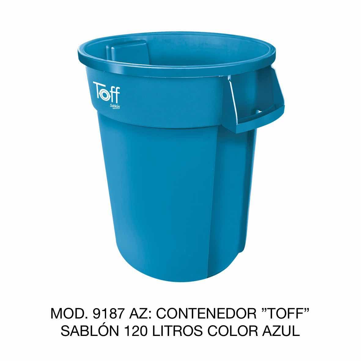 Contenedor de basura Sablón modelo TOFF de 120 litros Modelo 9187 AZ Color Azul