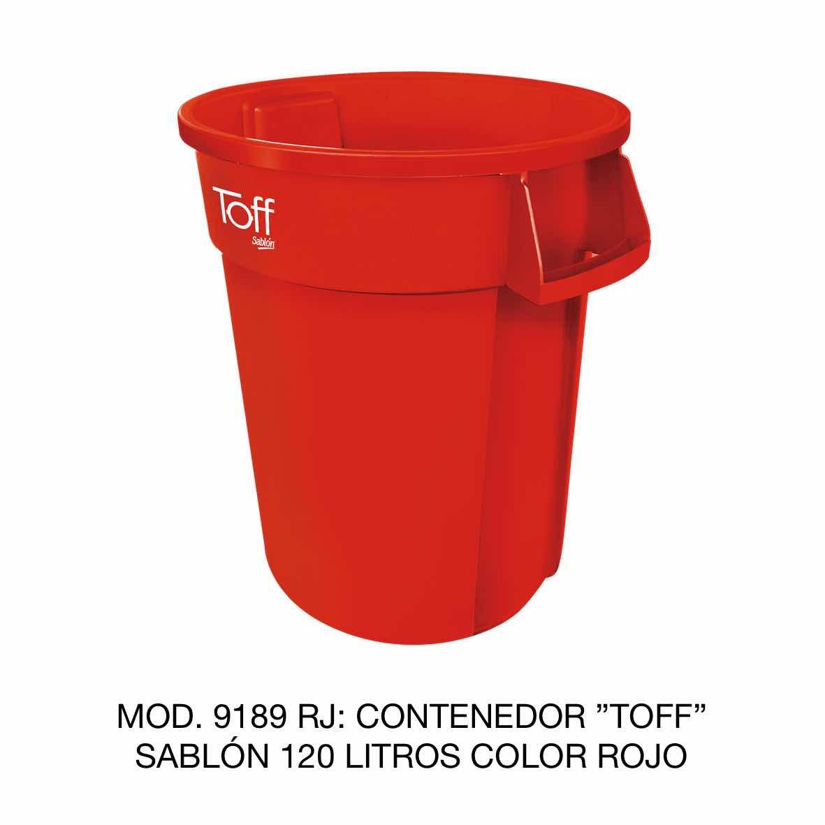 Contenedor de basura Sablón modelo TOFF de 120 litros Modelo 9189 RJ Color Rojo