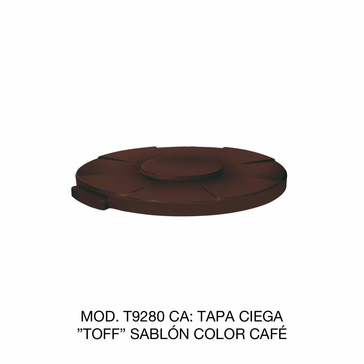 Tapa para contenedor de basura de 120 litros TOFF modelo T9280 CA color café de Sablón