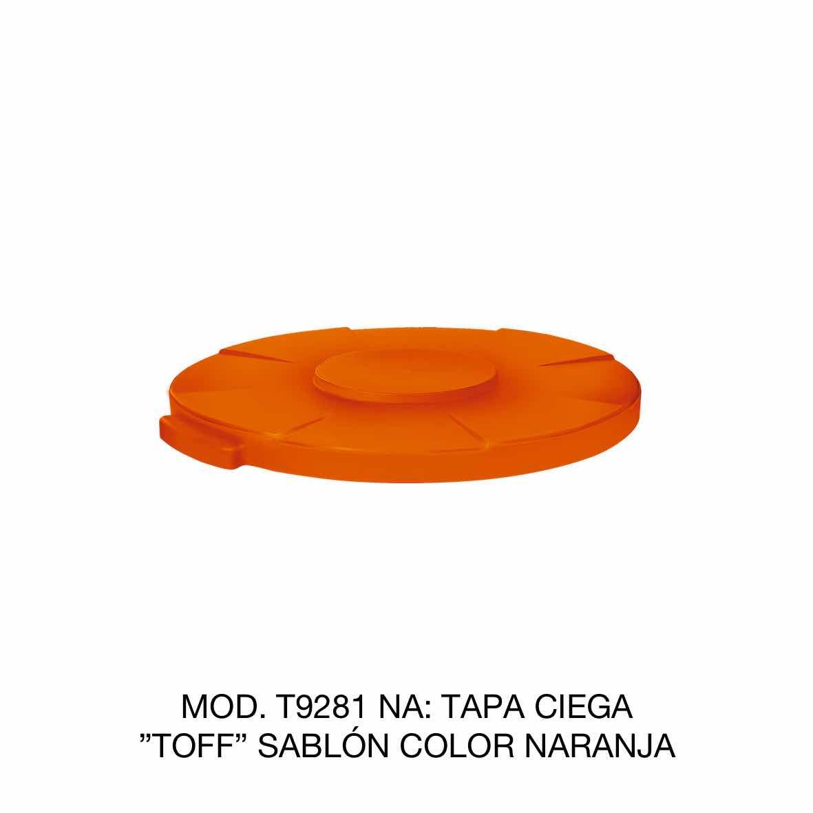 Tapa para contenedor de basura de 120 litros TOFF modelo T9281 NA color naranja de Sablón