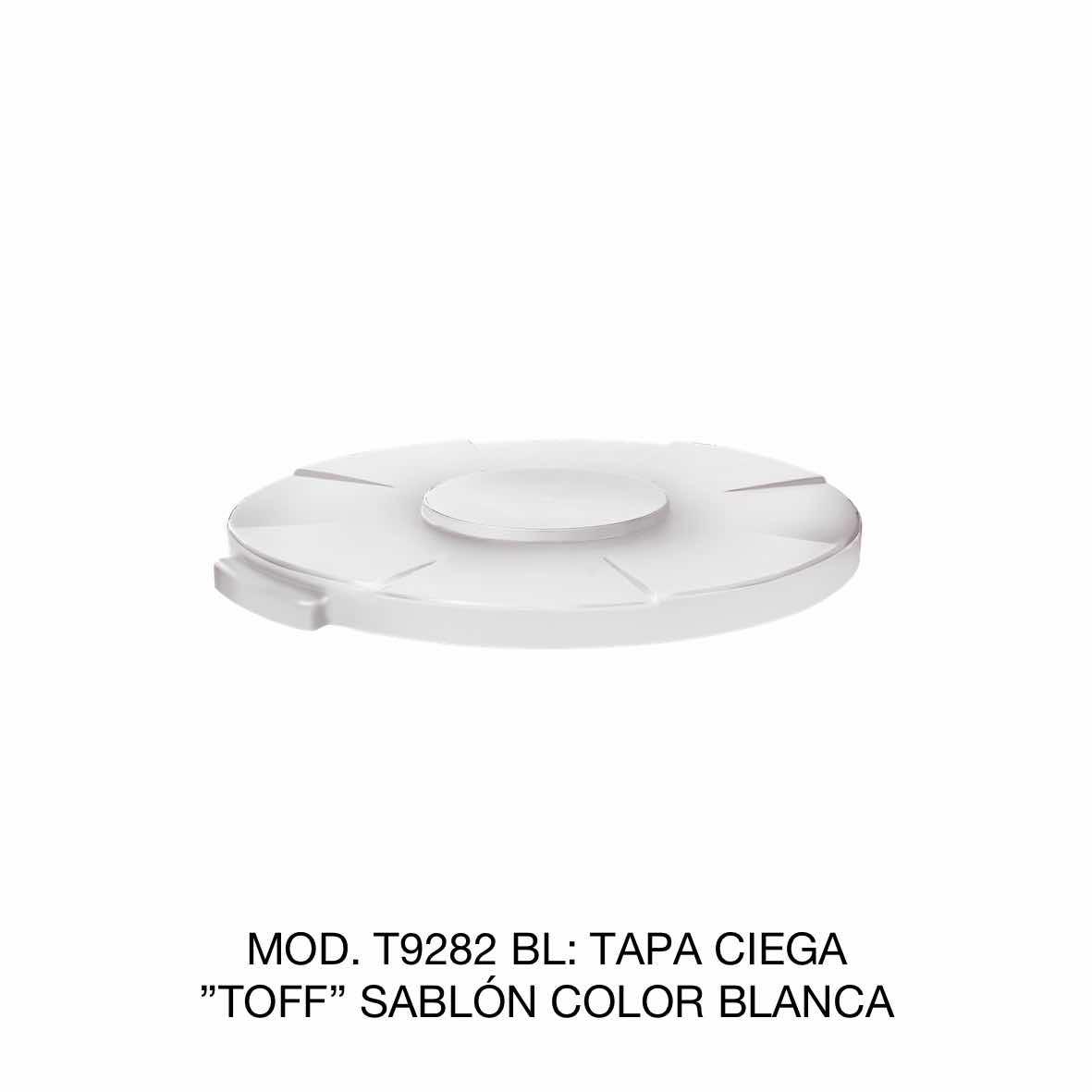 Tapa para contenedor de basura de 120 litros TOFF modelo T9282 BL color blanco de Sablón