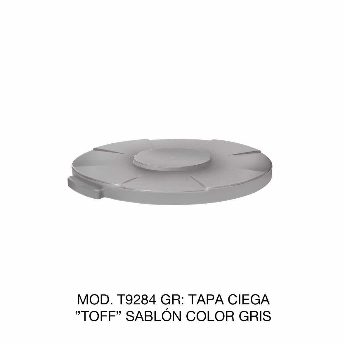 Tapa para contenedor de basura de 120 litros TOFF modelo T9284 GR color gris de Sablón