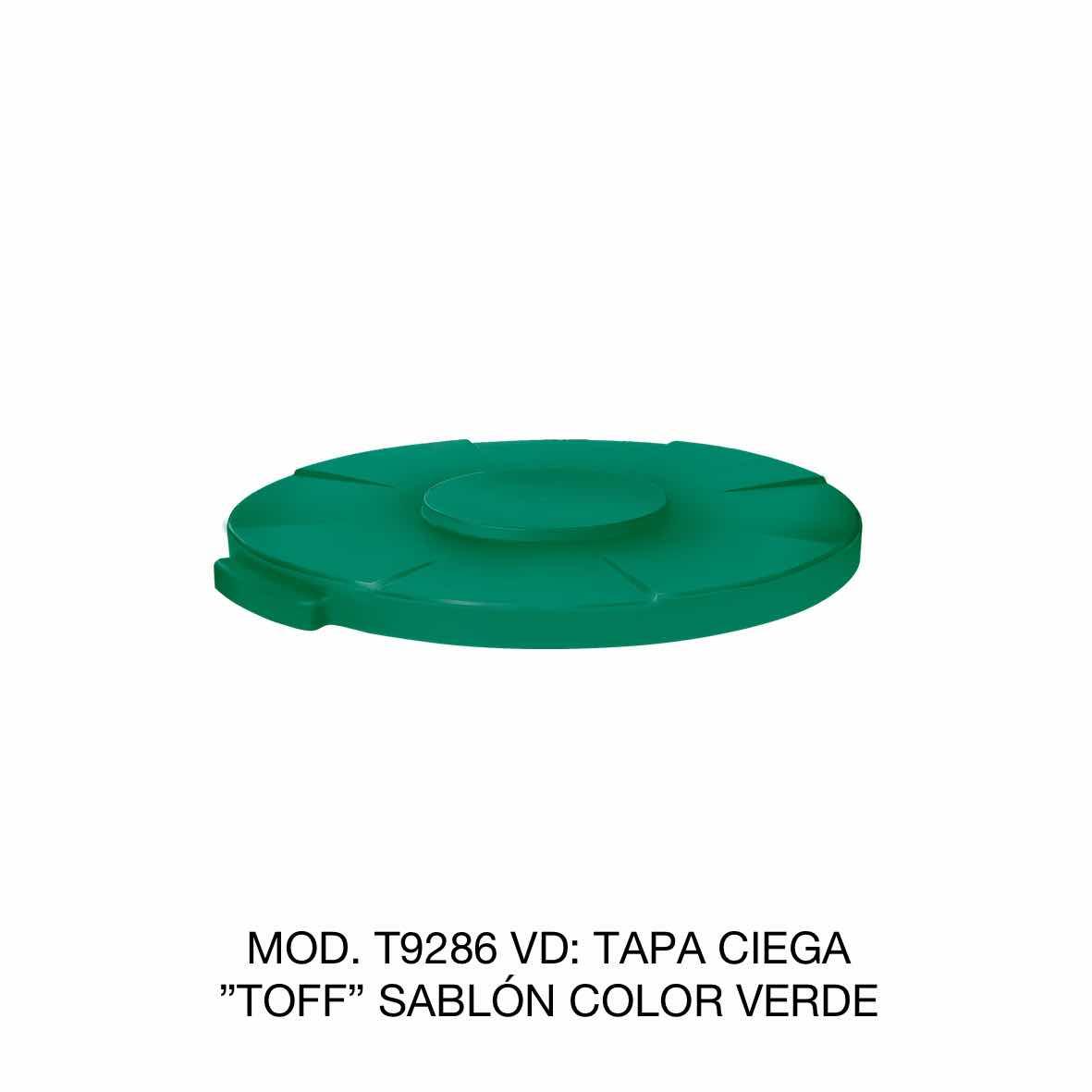 Tapa para contenedor de basura de 120 litros TOFF modelo T9286 VD color verde de Sablón