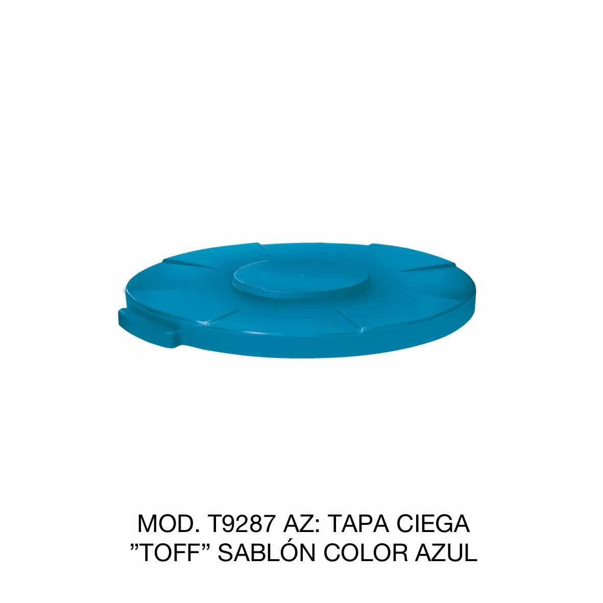 Tapa para contenedor de basura de 120 litros TOFF modelo T9287 AZ color azul de Sablón