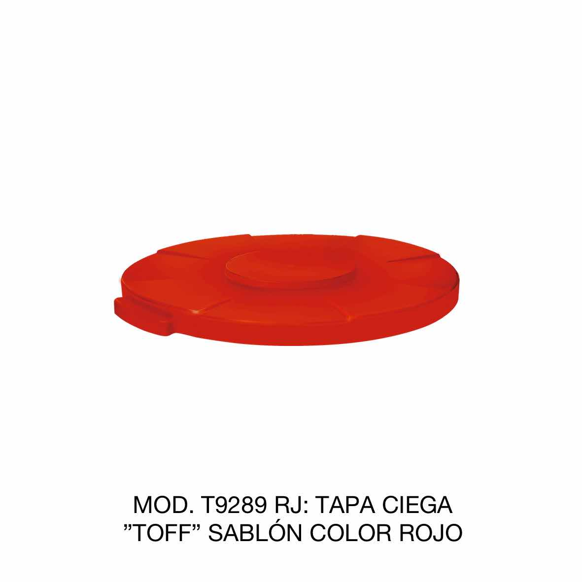 Tapa para contenedor de basura de 120 litros TOFF modelo T9289 RJ color rojo de Sablón