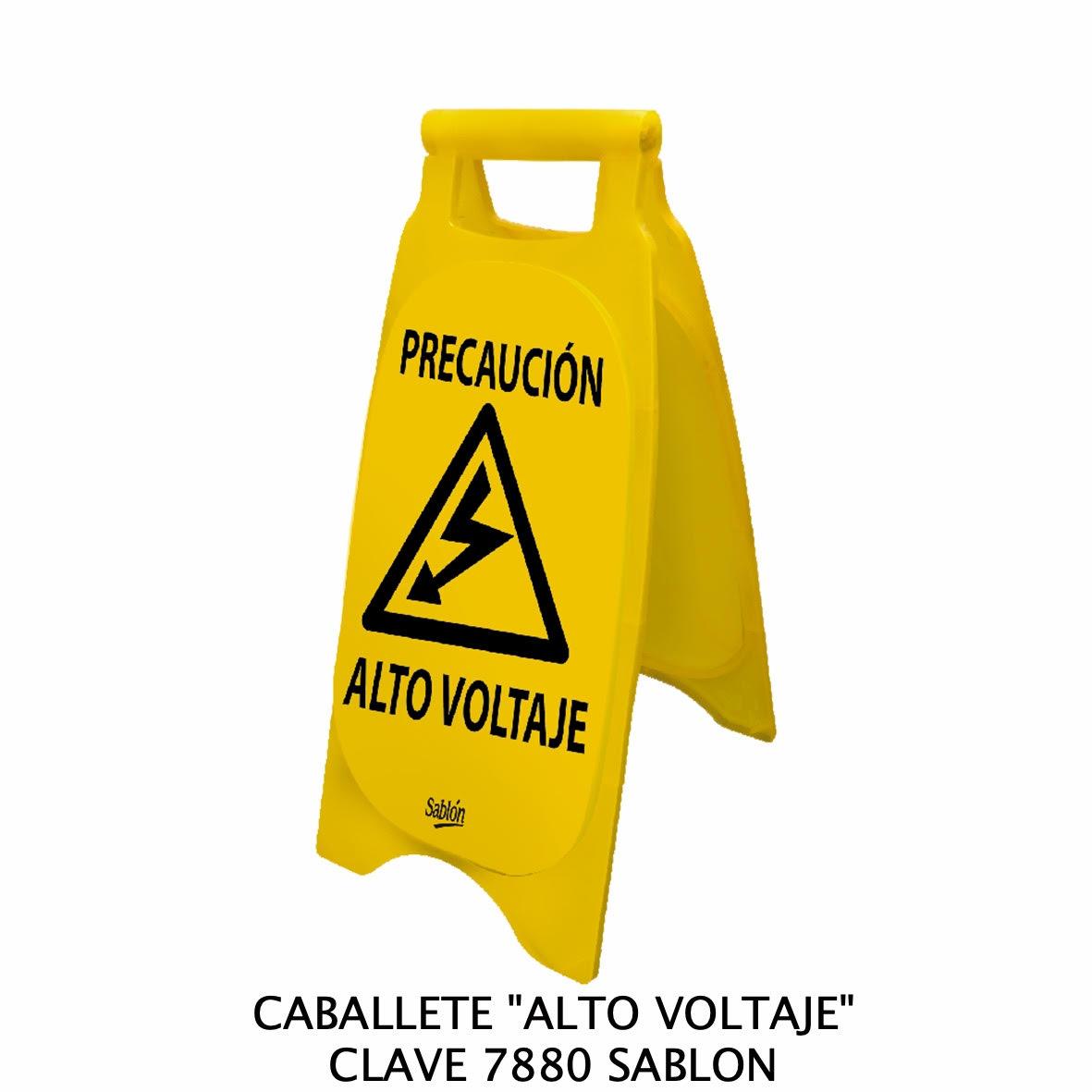 Caballete con señal ALTO VOLTAJE Clave 7880 de Sablón