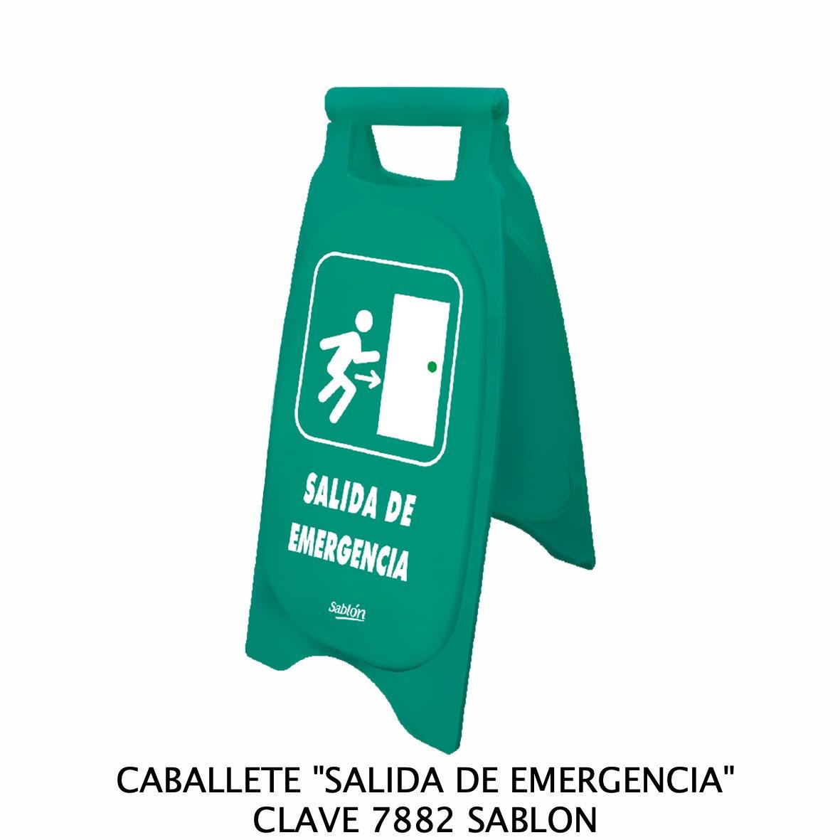 Caballete con señal SALIDA DE EMERGENCIA Clave 7882 de Sablón