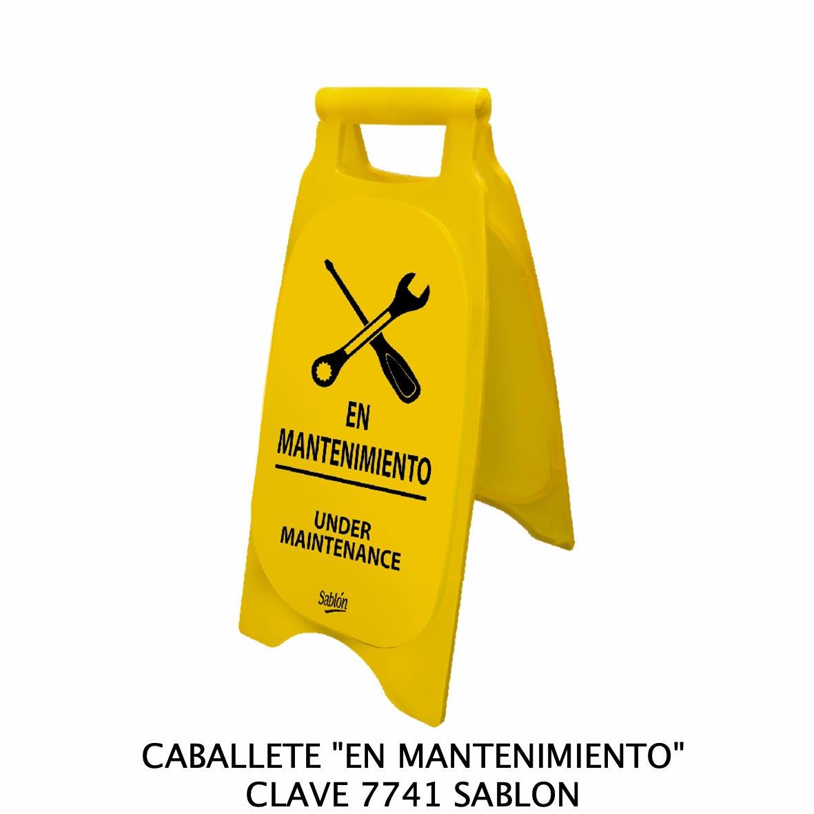 Caballete con señal en mantenimiento Clave 7741 de Sablón