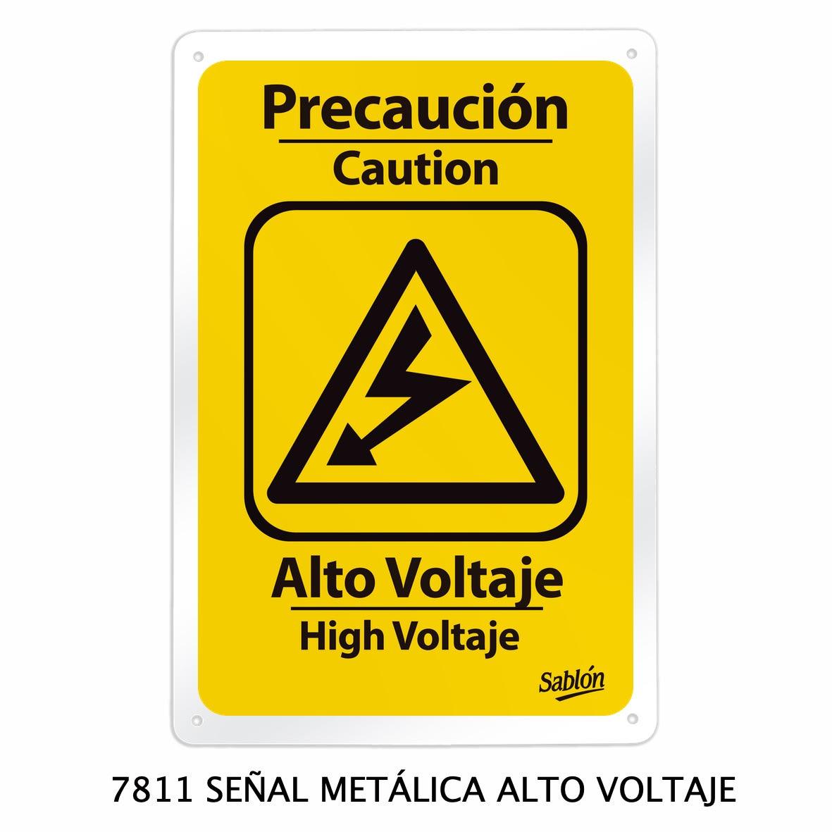 Señal metálica de alto voltaje modelo 7811 de Sablón