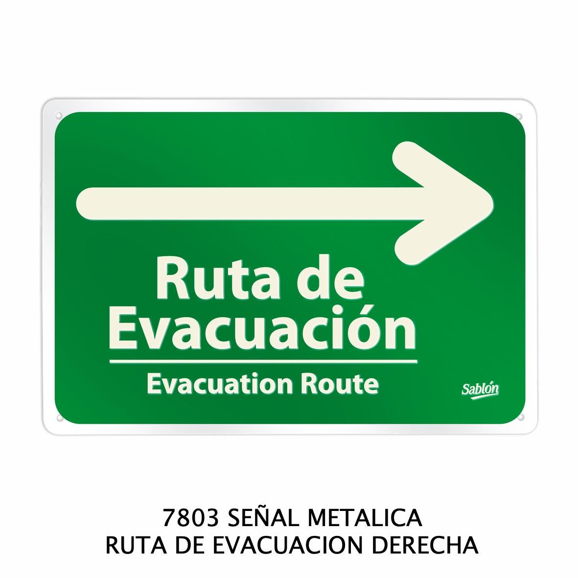 Señal metálica de ruta de evacuación derecha modelo 7803 de Sablón