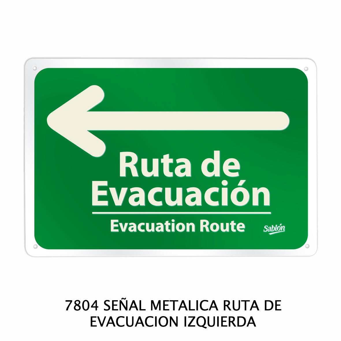 Señal metálica de ruta de evacuación izquierda modelo 7804 de Sablón