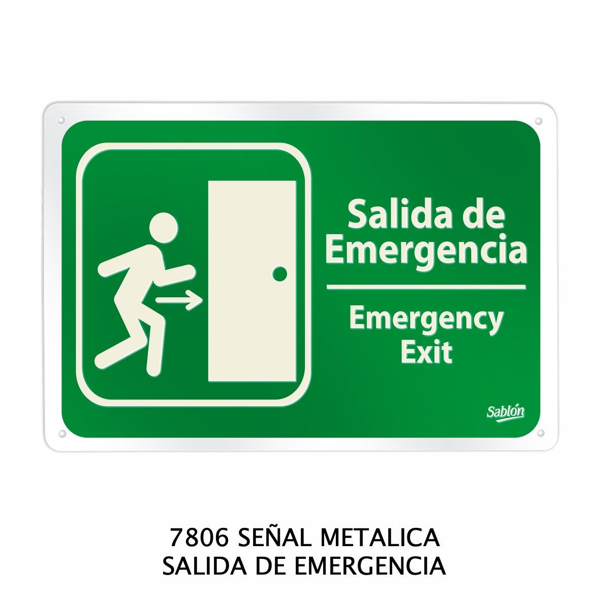 Señal metálica de salida de emergencia modelo 7806 de Sablón