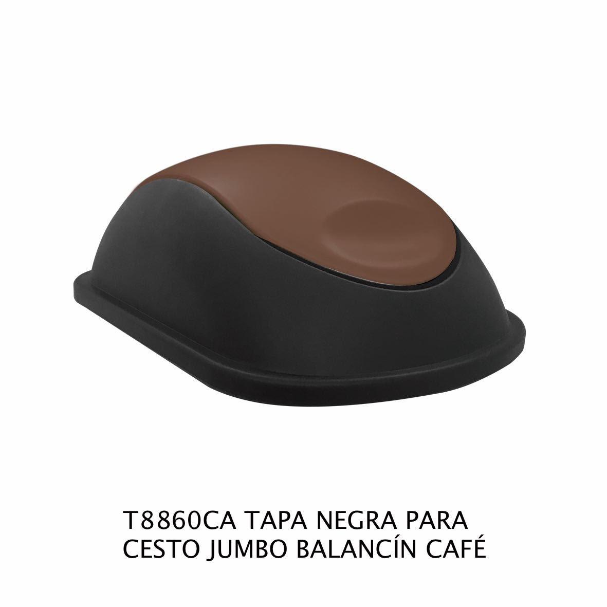 Tapa Negra con balancín color café para bote de basura jumbo Modelo T8860CA Sablón