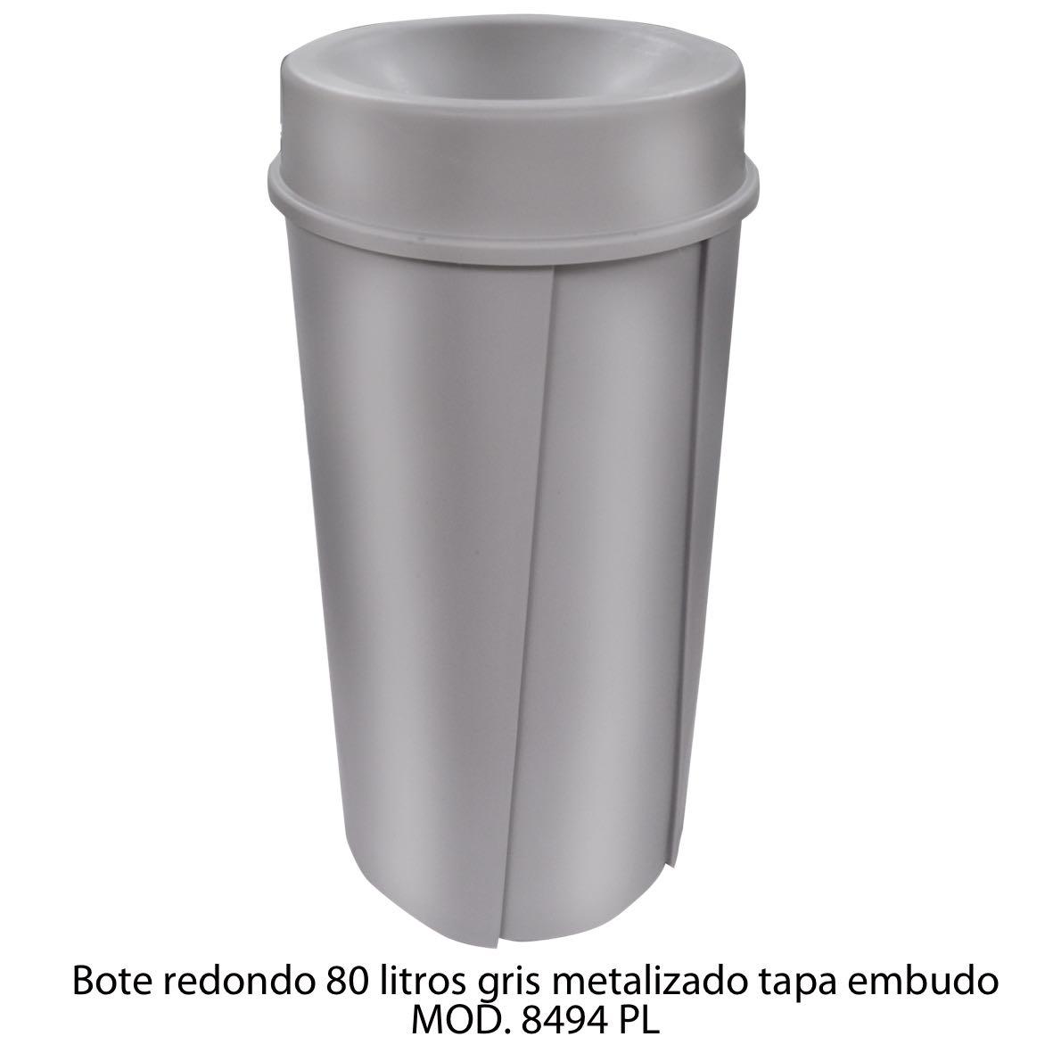 Bote de basura redondo de 80 litros con tapa embudo color gris metalizado modelo 8494 PL Sablon