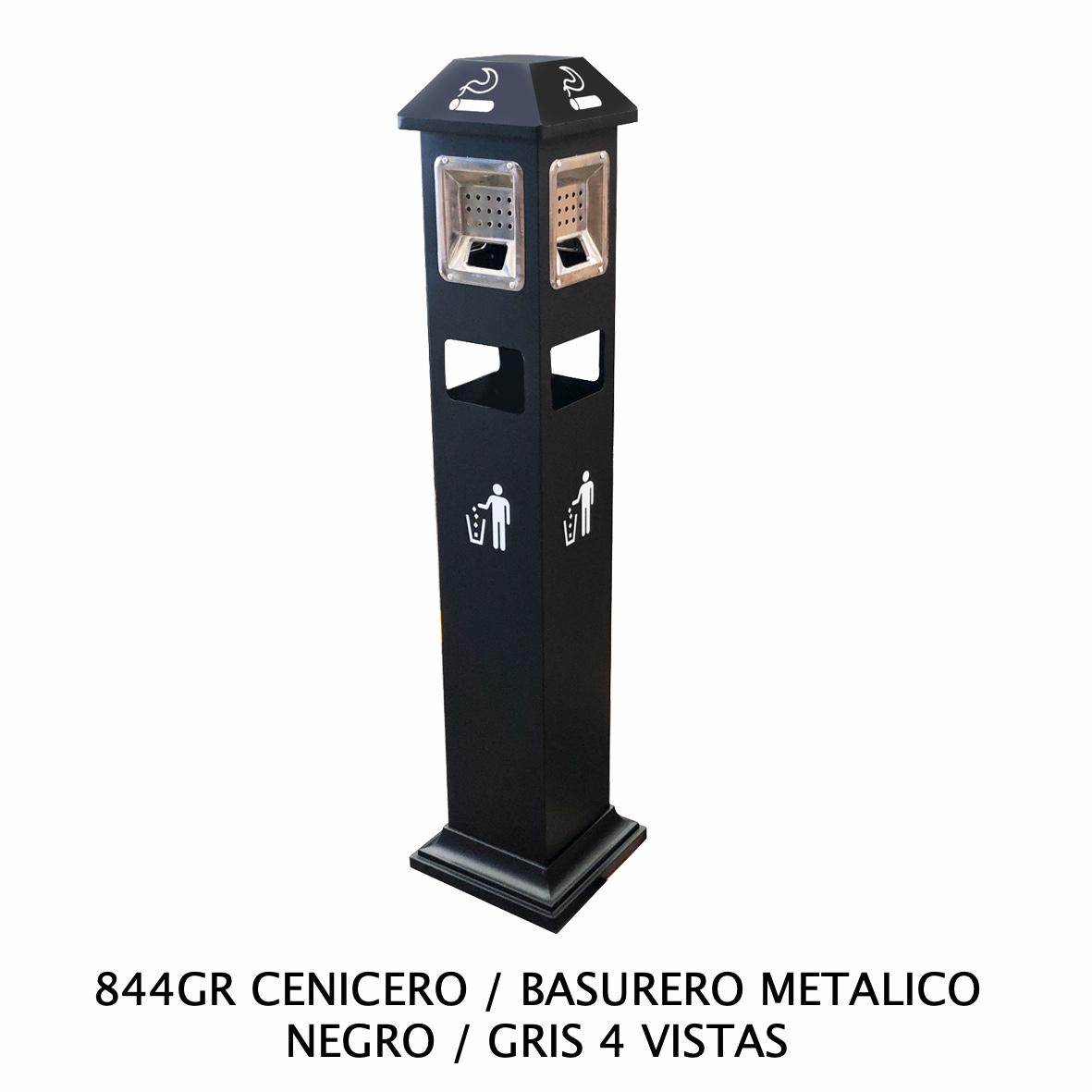 Cenicero y basurero metálico color negro y gris con 4 vistas Modelo 844GR de Sablón