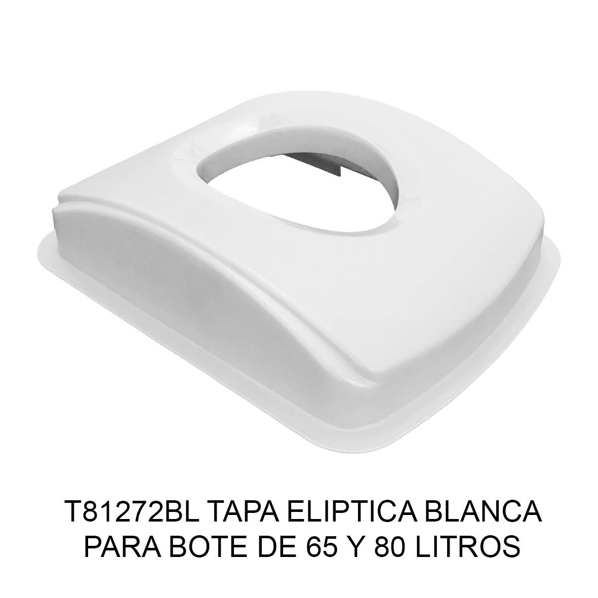 Tapa elíptica para bote de basura color blanco para botes de 65 y 80 litros Modelo T81272BL de Sablón