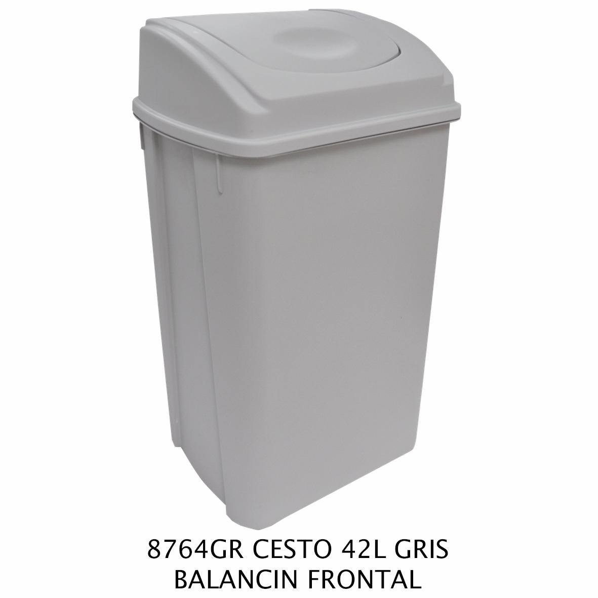 Bote de basura de 42 litros con balancín frontal color GRIS modelo 8764GR de Sablón