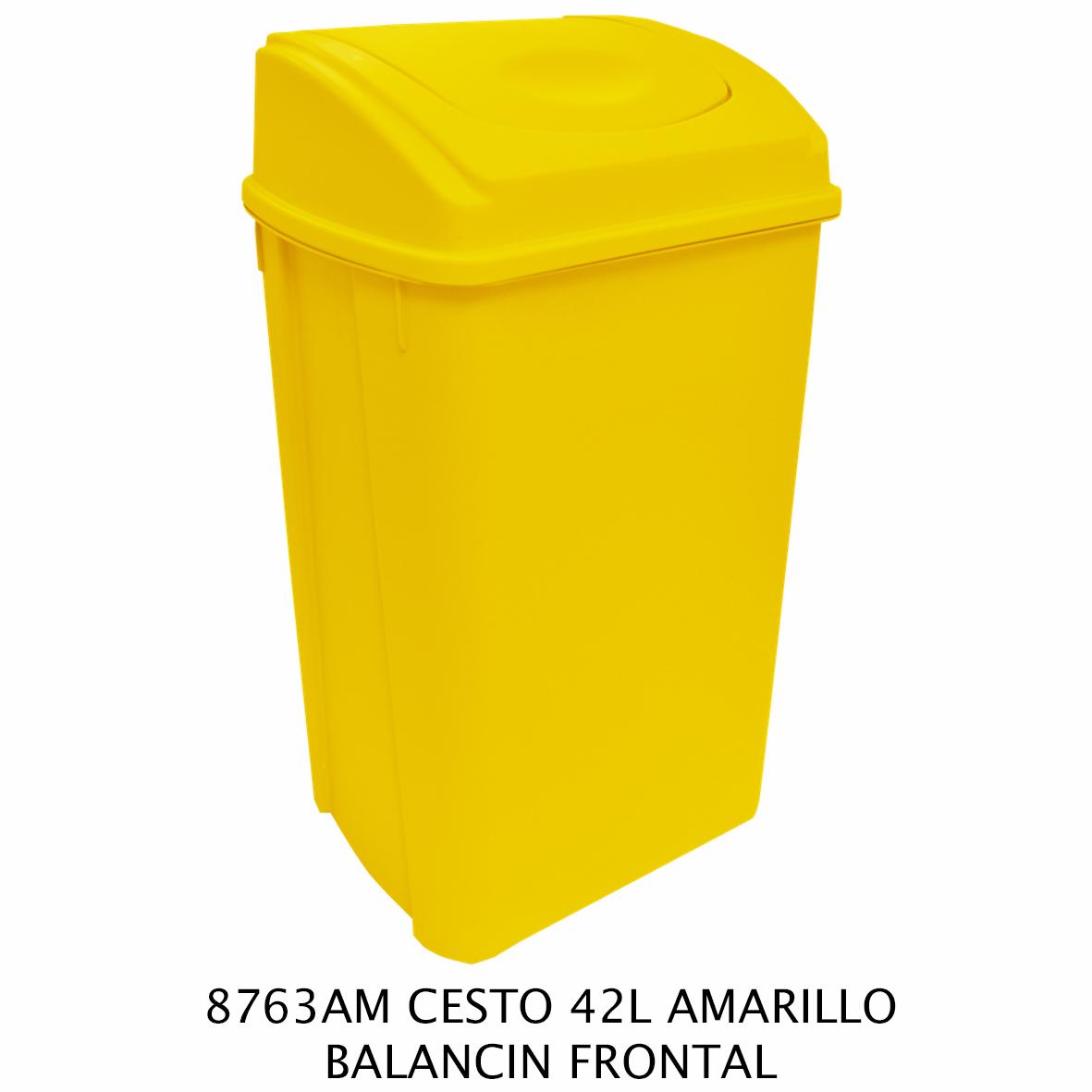 Bote de basura de 42 litros con balancin frontal color amarillo modelo 8763AM de Sablón