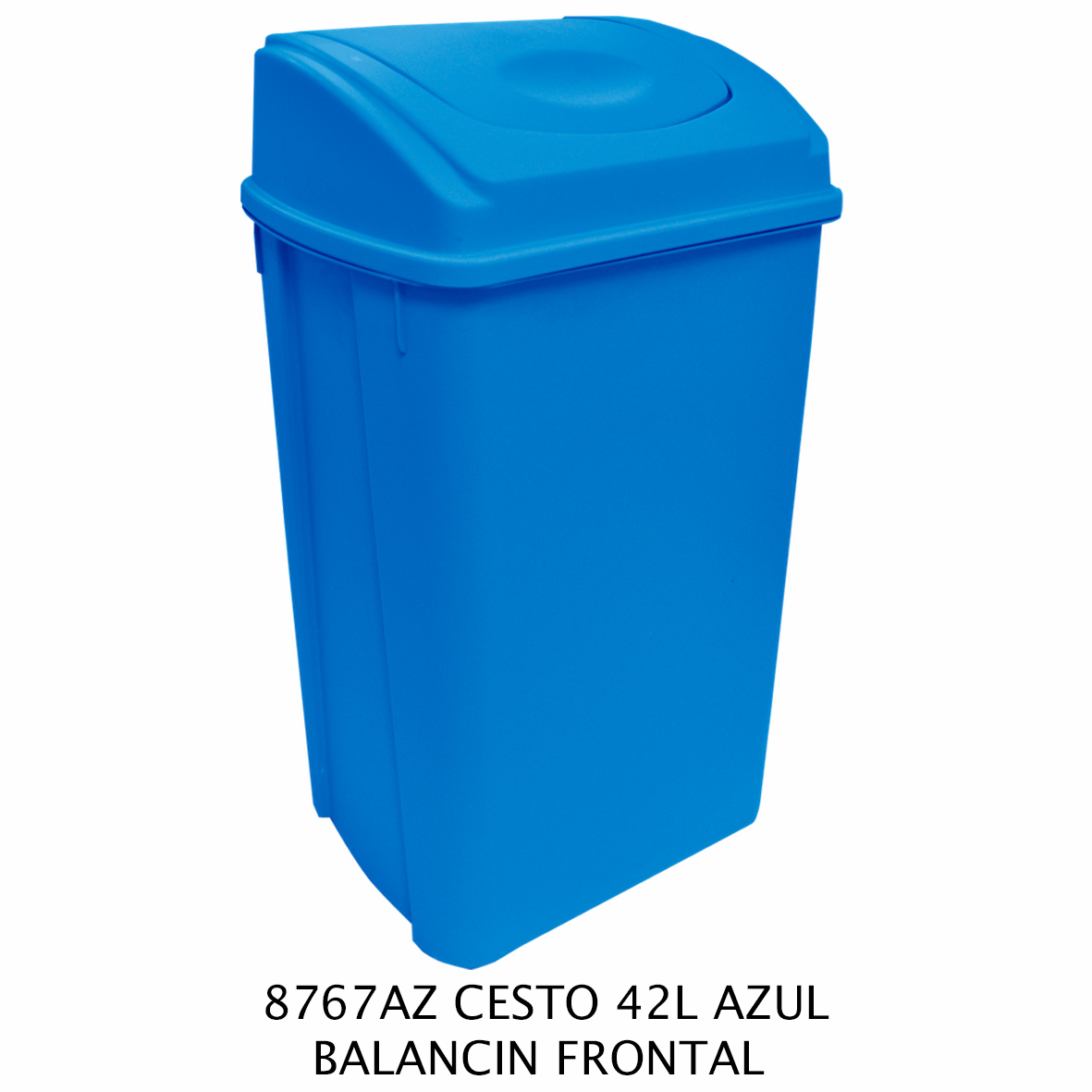 Bote de basura de 42 litros con balancín frontal color azul modelo 8767AZ de Sablón