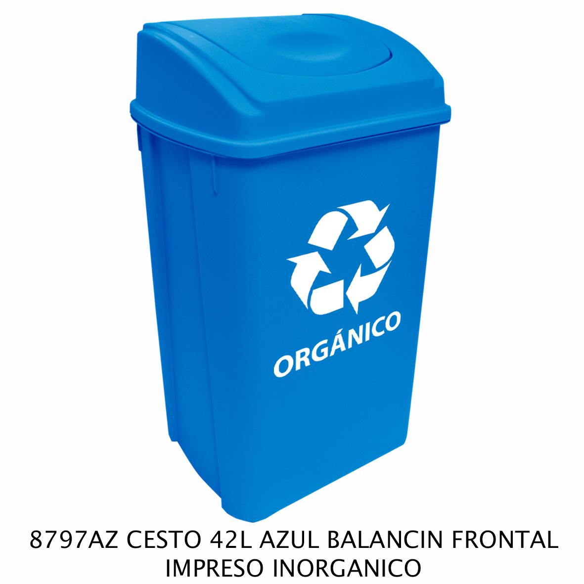 Bote de basura de 42 litros con balancín frontal color azul modelo 8797AZ impreso inorgánico de Sablón