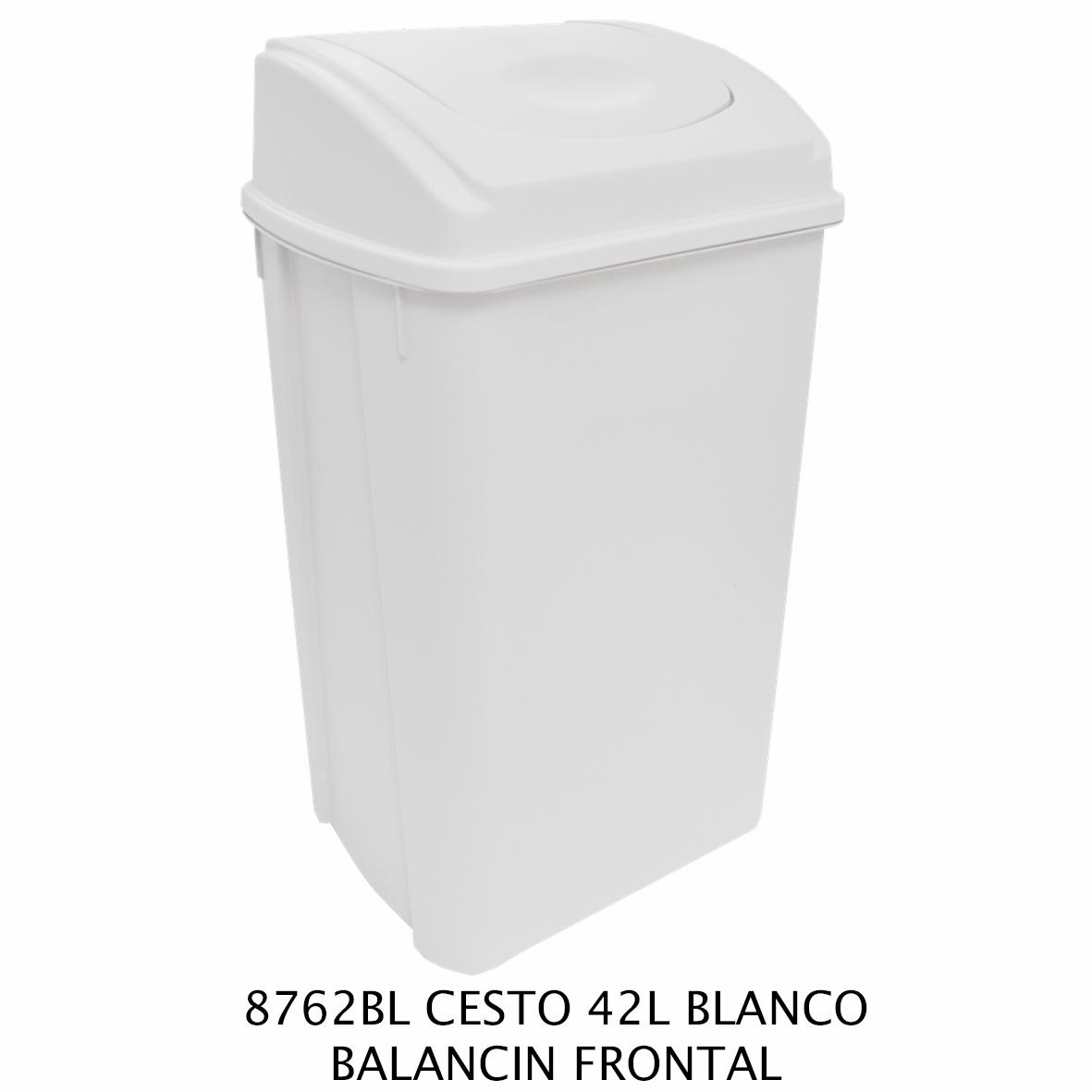 Bote de basura de 42 litros con balancin frontal color blanco modelo 8762BL de Sablón