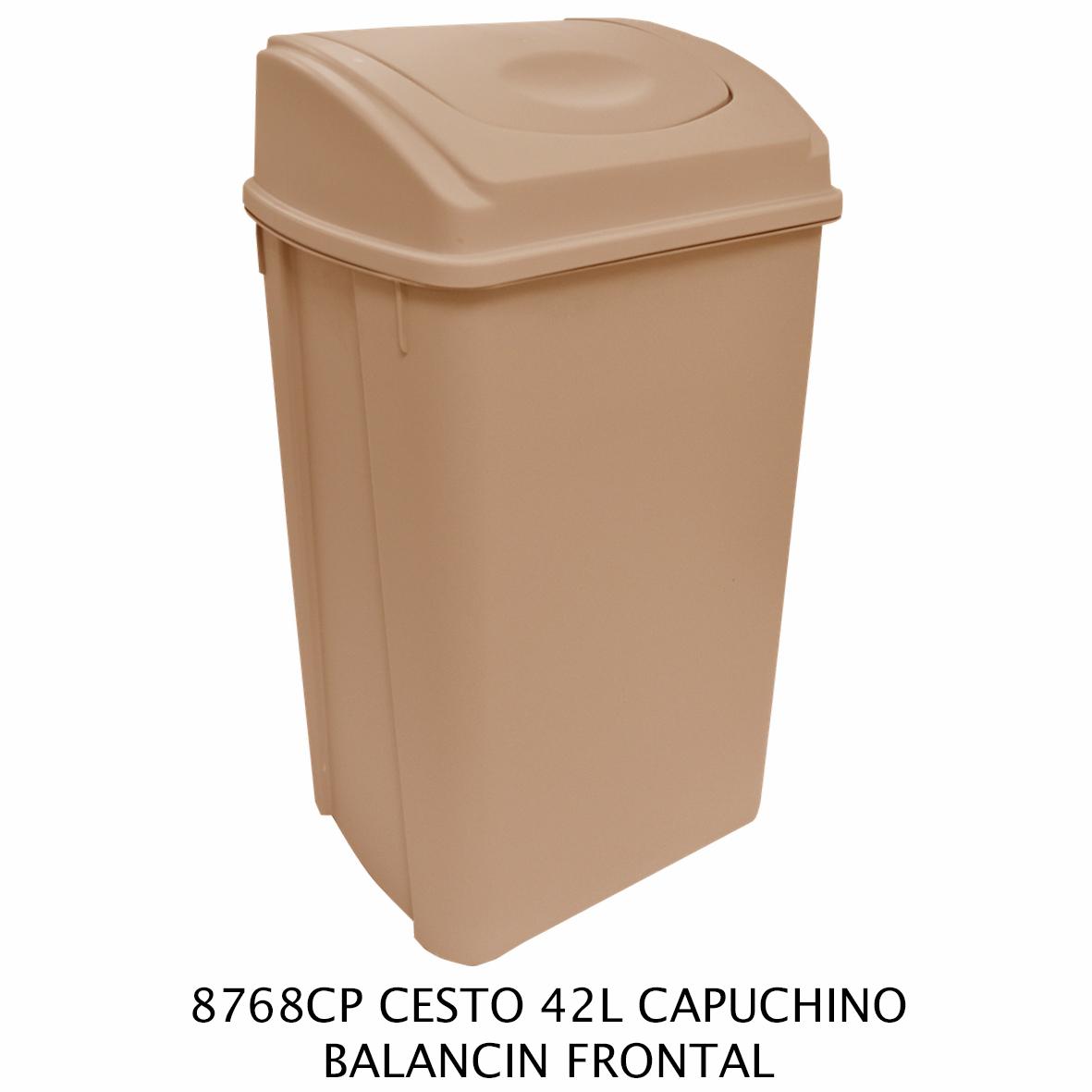 Bote de basura de 42 litros con balancín frontal color capuchino modelo 8768CP de Sablón