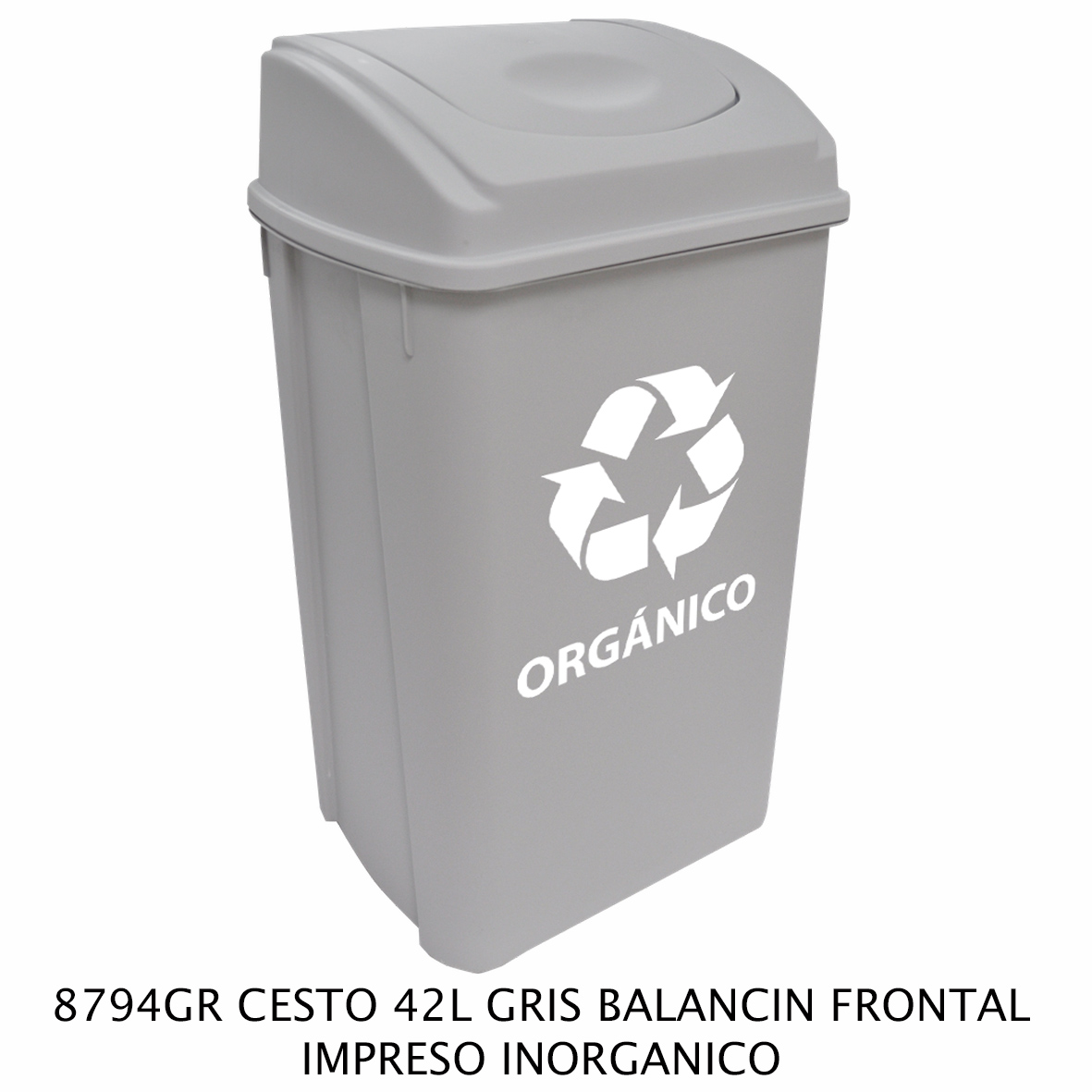 Bote de basura de 42 litros con balancín frontal color gris modelo 8794GR impreso inorgánico de Sablón