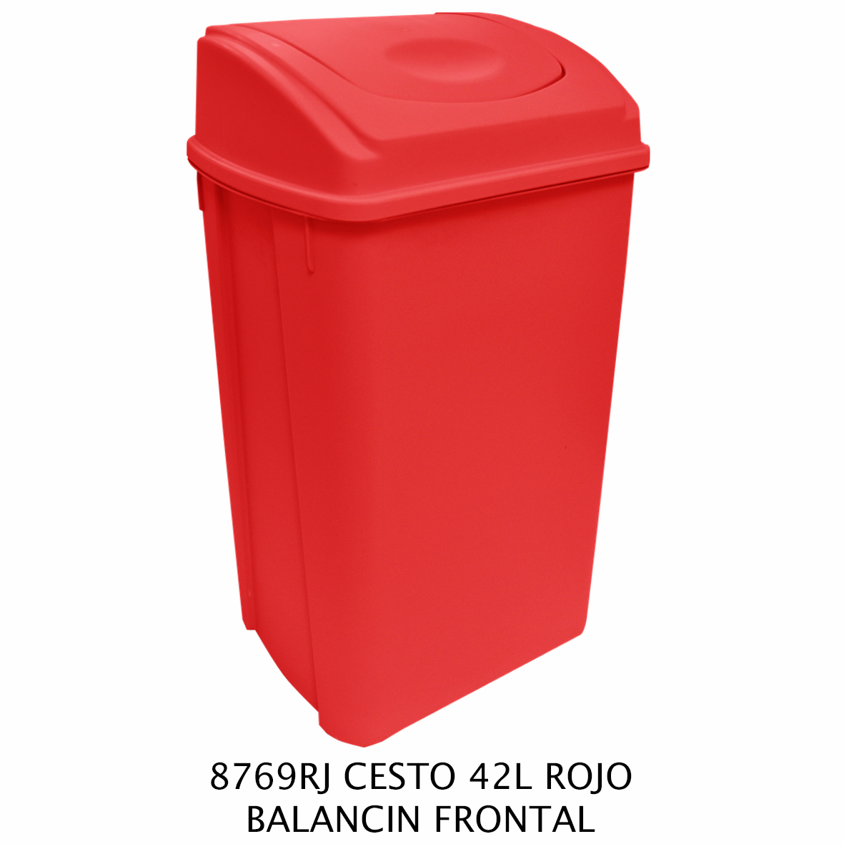Bote de basura de 42 litros con balancín frontal color rojo modelo 8769RJ de Sablón