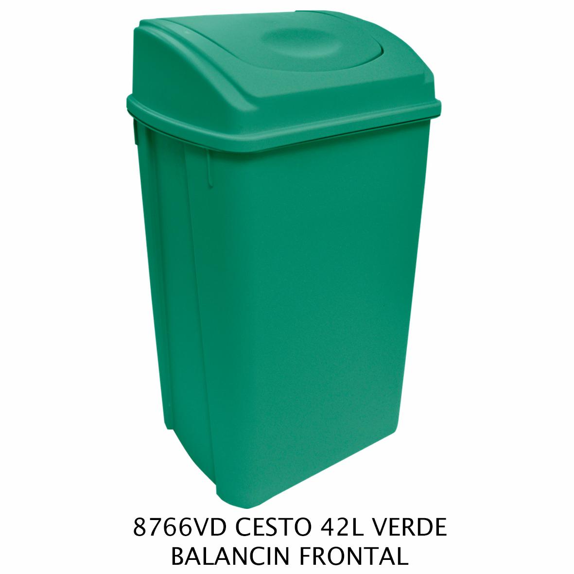 Bote de basura de 42 litros con balancín frontal color verde modelo 8766VD de Sablón