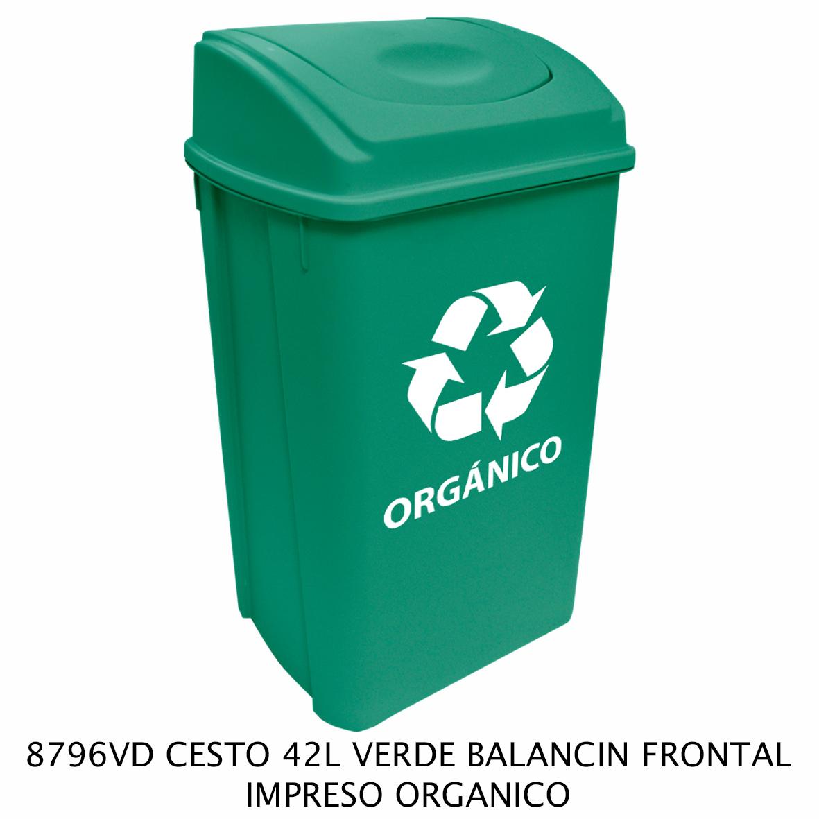 Bote de basura de 42 litros con balancín frontal color verde modelo 8796VD impreso orgánico de Sablón