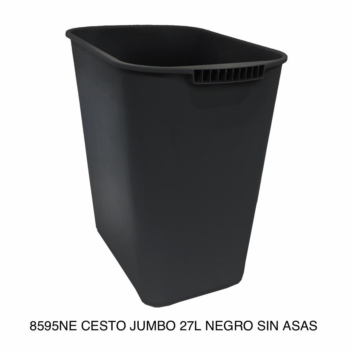 Bote de basura jumbo modelo 8595NE color negro sin asas de Sablón