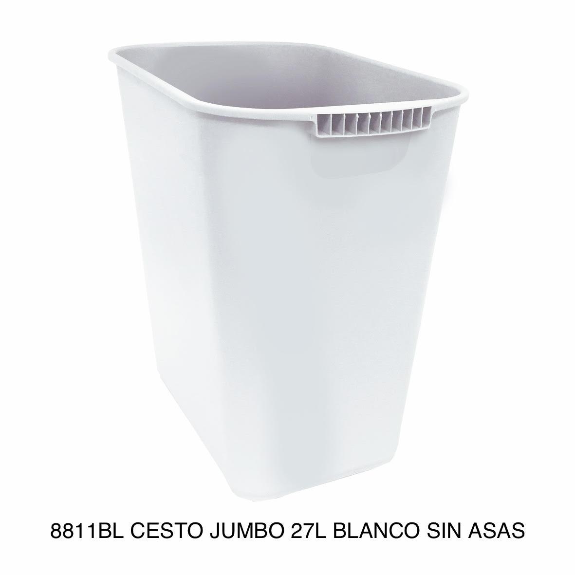 Bote de basura jumbo modelo 8811BL color blanco sin asas de Sablón
